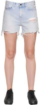 Calvin Klein Jeans Splattered Cut Off Cotton Denim Shorts