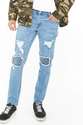 Forever 21 Distressed Ribbed Panel Skinny Jeans