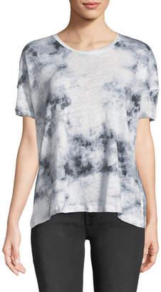 Neiman Marcus Majestic Paris for Tie-Dye Linen Short-Sleeve Tee