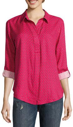 LIZ CLAIBORNE Liz Claiborne Long Sleeve Y Neck Woven Blouse-Talls $48 thestylecure.com