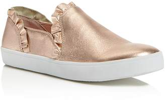 Kate Spade Women's Lilly Ruffle-Trim Leather Slip-On Sneakers