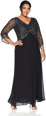 df09b2c7940d1 J Kara Women s Plus Size 3 4 Sleeve V-Neck Beaded Top Long Gown