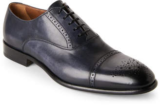Doucal's Navy Leather Cap-Toe Brogue Oxfords