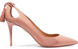 Aquazzura Forever Marilyn Cutout Tasseled Patent-leather Pumps - Blush