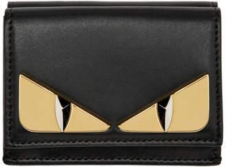 Fendi Black Micro Bag Bugs Trifold Wallet
