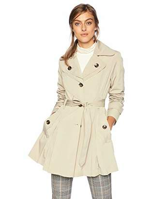 London Fog Women's Double Lapel Mid Length Button Front Belted Trench Coat