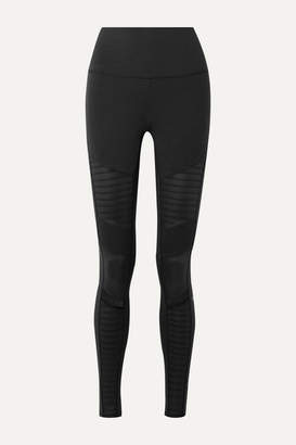 Alo Yoga Moto Mesh-trimmed Stretch Leggings - Black
