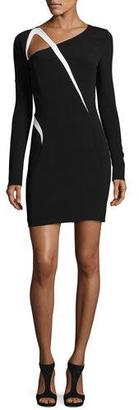 Thierry Mugler Asymmetric-Cutout Long-Sleeve Dress, Black/Off White $1,850 thestylecure.com