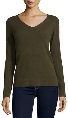 Neiman Marcus Cashmere Collection Modern Cashmere V-Neck Sweater $157 thestylecure.com