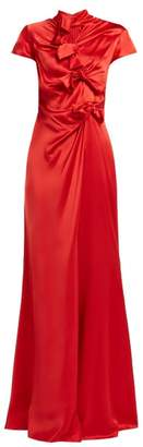 Saloni Kelly Bow Detail Silk Satin Dress - Womens - Red