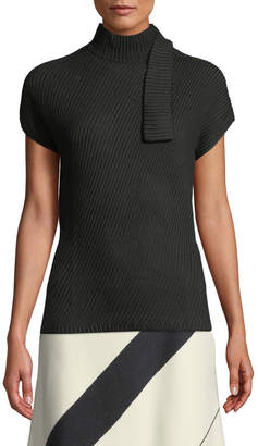 Narciso Rodriguez Short-Sleeve Chunky Rib-Knit Wool Top