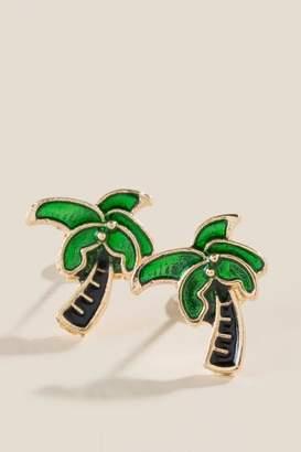 francesca's Tiny Palm Tree Studs - Green