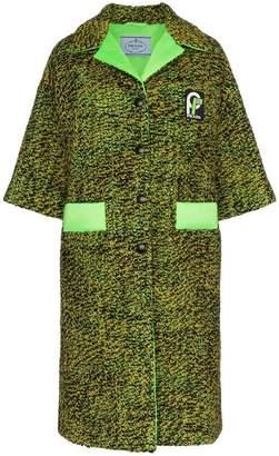 Prada single-breasted logo patch tweed coat