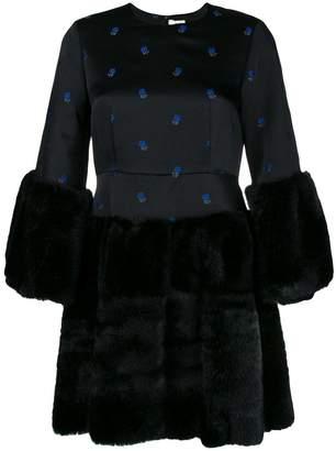 Comme des Garcons faux fur floral embroidered dress