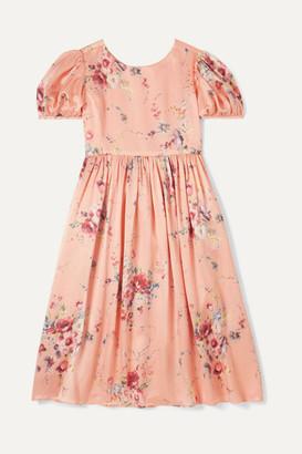 LoveShackFancy Kids - Holly Floral-print Duchesse Silk-satin Dress - Peach