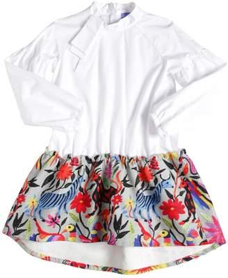 Stella Jean COTTON POPLIN & PRINTED TWILL DRESS