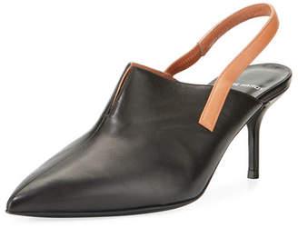 Point-Toe Leather Slingback Pump