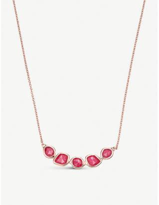 Monica Vinader Mini Nugget Cluster 18ct rose-gold vermeil and pink quartz necklace