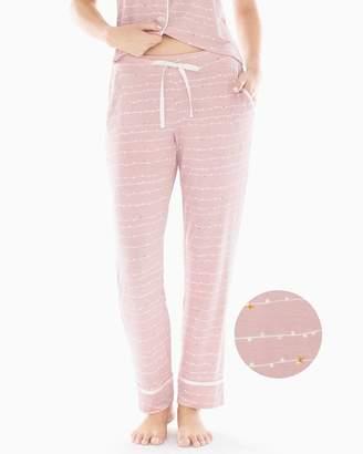 Cool Nights Satin Trim Ankle Pajama Pants Garland Stripe Pink