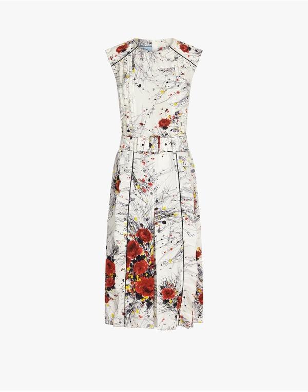 Prada Prada Printed CrÃape De Chine Dress