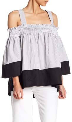 KENDALL + KYLIE Kendall & Kylie Smocked Stripe Cold Shoulder Blouse