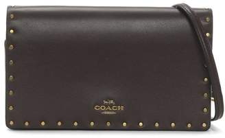 Coach Rivets Oxblood Leather Clutch Cross-Body Bag