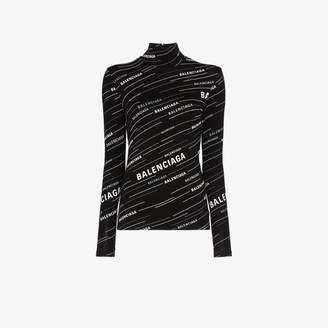 Balenciaga all-over logo print cotton turtleneck