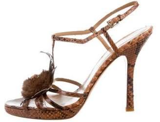 Valentino Python Mink Fur Sandals