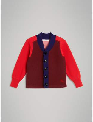 Burberry Colour Block Merino Wool Blend Cardigan