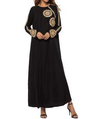 64d0938d5e3 Qianliniuinc Women Abaya Kaftan Maxi Dress-Long Sleeve Clothing Dubai Gown  Muslim Islamic Dubai (