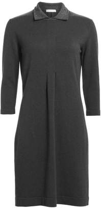Fabiana Filippi Lurex Collar Long-Sleeve Knit Dress
