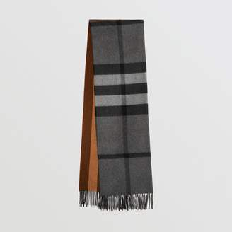 Burberry Colour Block Check Cashmere Scarf, Brown