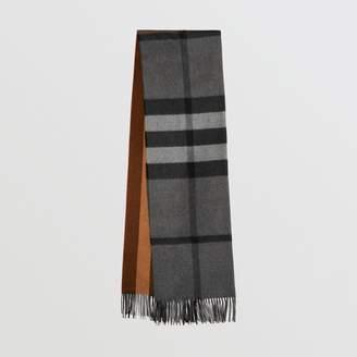 Burberry Colour Block Check Cashmere Scarf, Brown