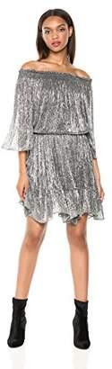 Halston Women's Off Shoulder Smocked Detail Dress
