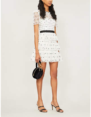 Self-Portrait Tiered polka dot floral lace mini dress