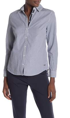 Tahari Front Button Stripe Blouse