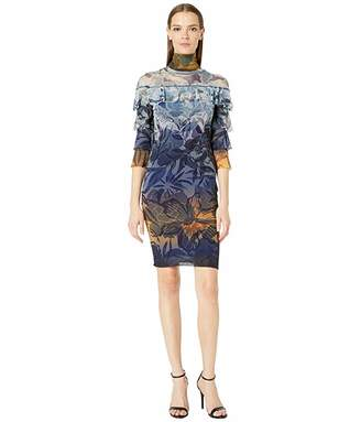 Fuzzi Ruffle Degrade Print Dress