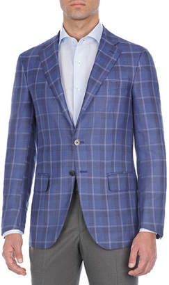Isaia Plaid Cashmere-Blend Sport Coat