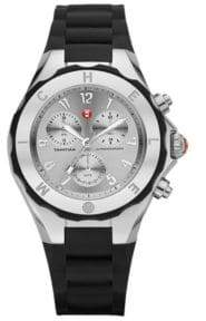 Michele Silicone & Stainless Steel Chronograph Watch/Black
