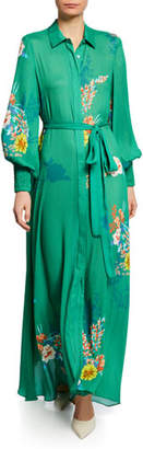 Alexis Yadira Belted Floral Blouson-Sleeve Long Dress