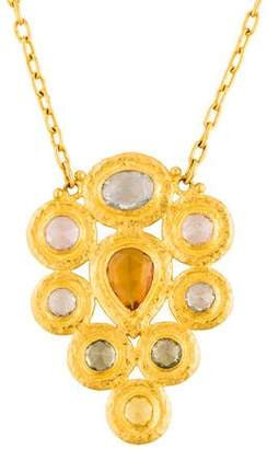 Gurhan 24K Elements Fancy Sapphire Cluster Pendant Necklace