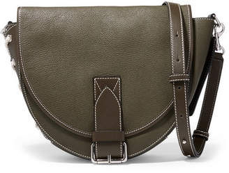J.W.Anderson Bike Lace-up Smooth And Textured-leather Shoulder Bag - Army green