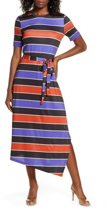 Charles Henry Stripe Belted Asymmetrical Midi Dress