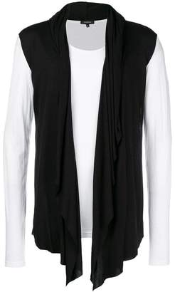 Unconditional contrast hooded cape waistcoat T-shirt