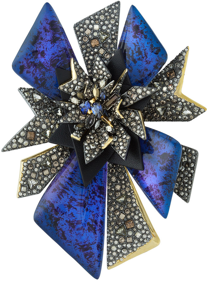 Alexis Bittar Alexis Bittar Two-Tone Crystal-Studded Perennial Punk Pin, Blue