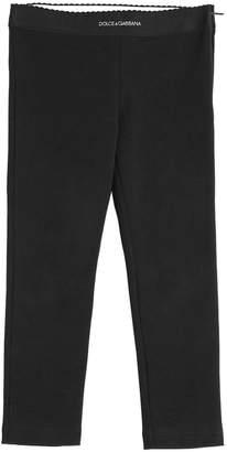 Dolce & Gabbana Logo Detail Cotton Interlock Leggings