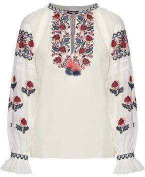 Love Sam Crochet-trimmed Embroidered Cotton-blend Gauze Top