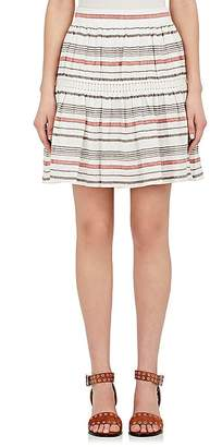 Chloé WOMEN'S STRIPED LINEN-COTTON GAUZE MINISKIRT