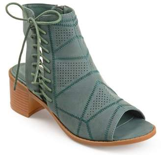 Brinley Co. Women's Faux Leather Side Lace-up Perforated Cut-out Heel Booties