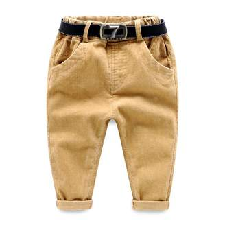SPRMAG Little Boys Casual Solid Flat Front Dress Pants With Belt 3T